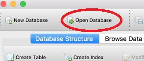 open sqlite database