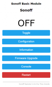 sonoff basic module menu