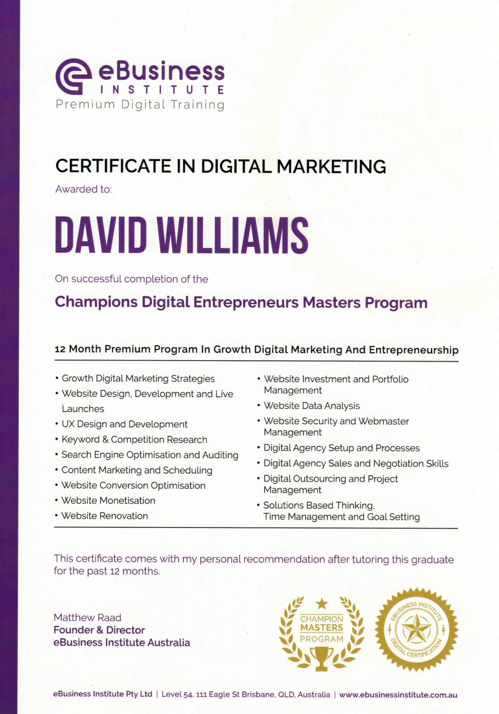 Certificate in Digital Marketing - David Williams