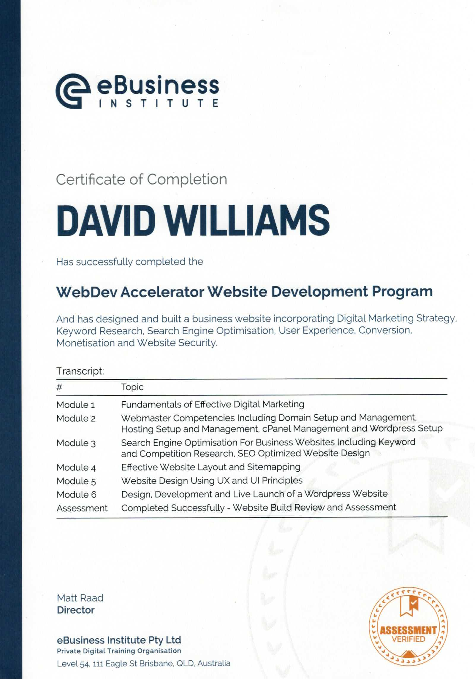 WebDev Accelerator Website Development Program - David Williams