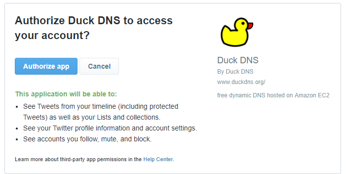 duckdns twitter authorisation